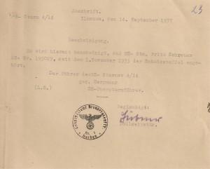 Bescheinigung - SS - 1937 001