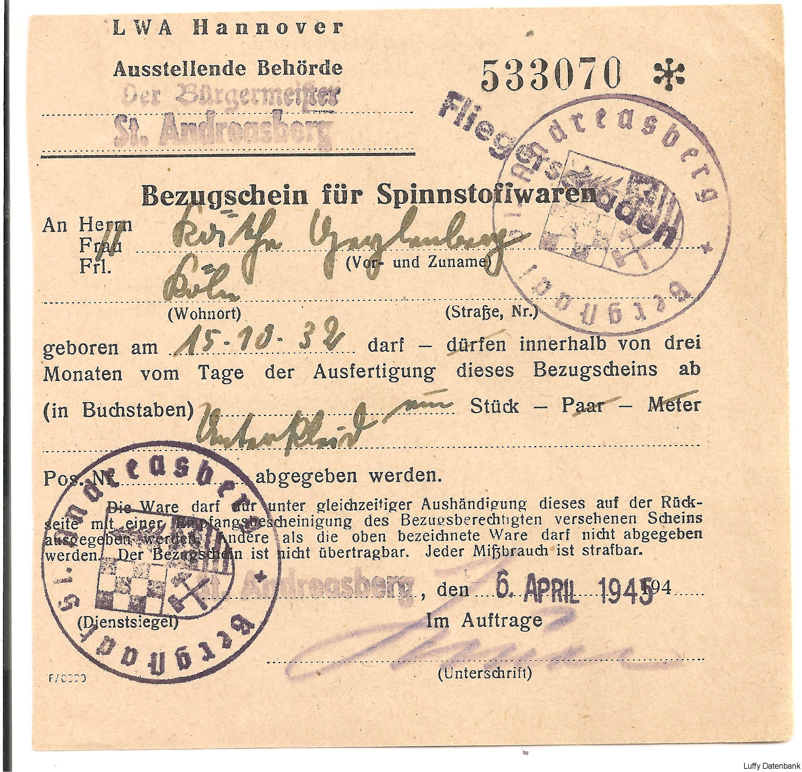 Der Schein wurde am 06. April 1945 ausgegeben. Am 15 April wurde St ...