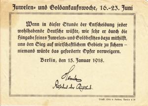 Flugblatt Goldsammlung 1918