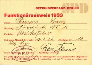 Funktionärskarte 1933