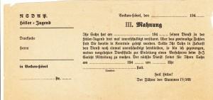 NSDAP _ HJ_Mahnung