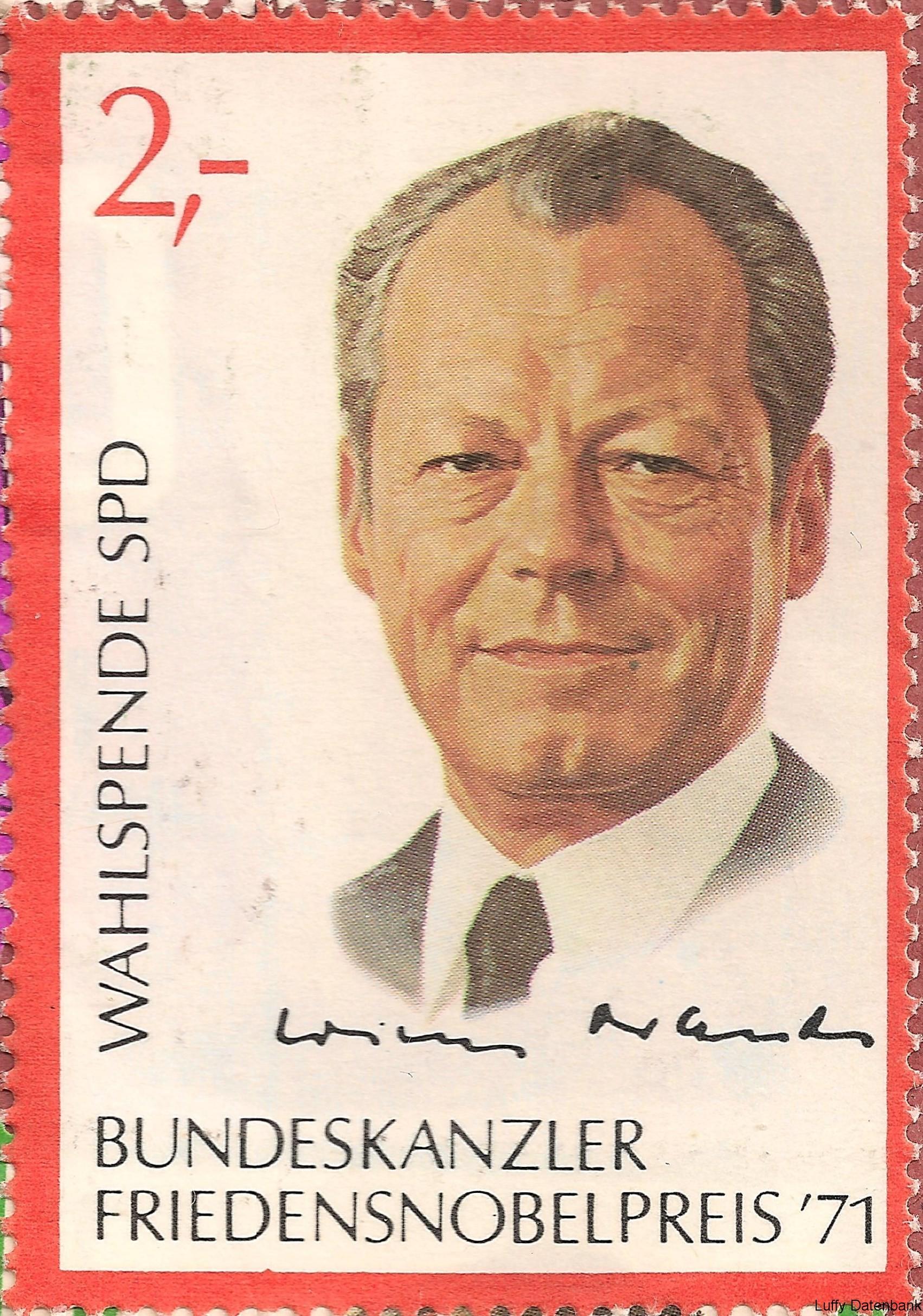 SPD – Spendenmarken – Friedensnobelpreis Willy Brandt ...