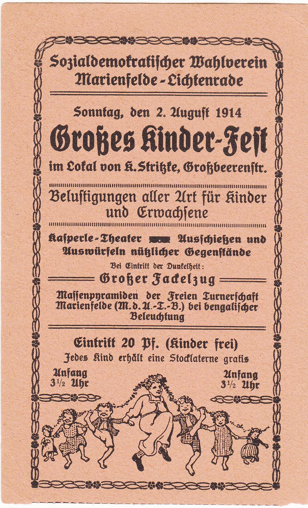 einladung kinderfest 1914 : geschichtsdokumente.de, Einladungen